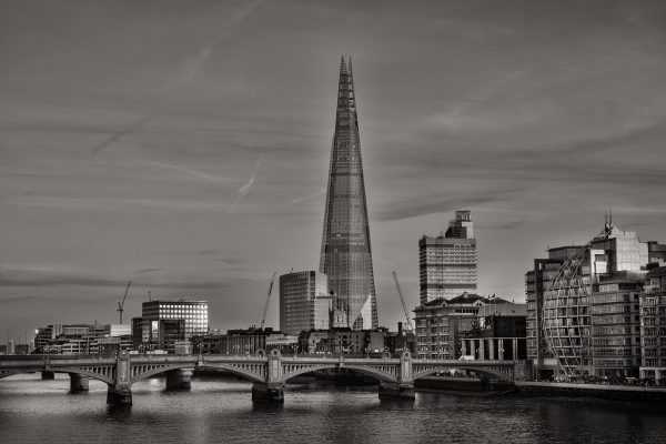 black and white picture of the shard