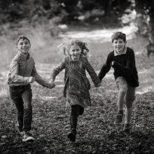 photograph of children running