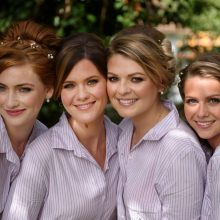 bridesmaids pose for a picture in North London by Stephen Swain